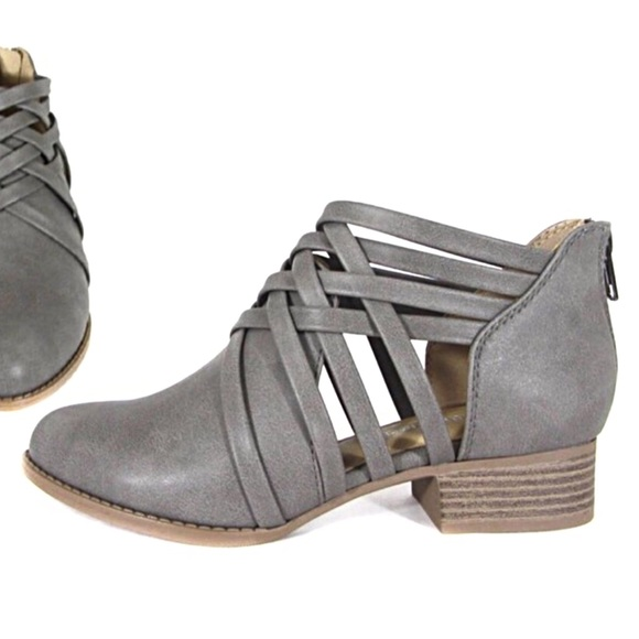 61c15b44dc9 City Classified Shoes | Strappy Grey Booties Low 1 Heel Back Zipper ...